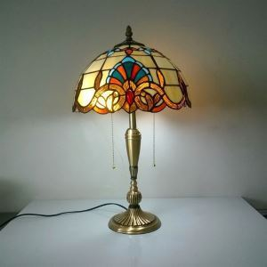 European Idyllic Retro Baroque Tiffany Table Light with 2-lights