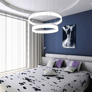 Modern Simple LED Pendant Light Acrylic Shade 2 Tiers