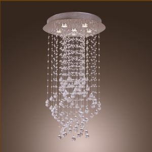6 Lights Modern Simple Fashion Chrome Round Crystal Ceiling Light