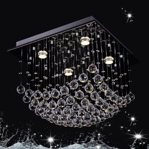 4 Lights Modern Simple Fashion Chrome Square Crystal Ceiling Light