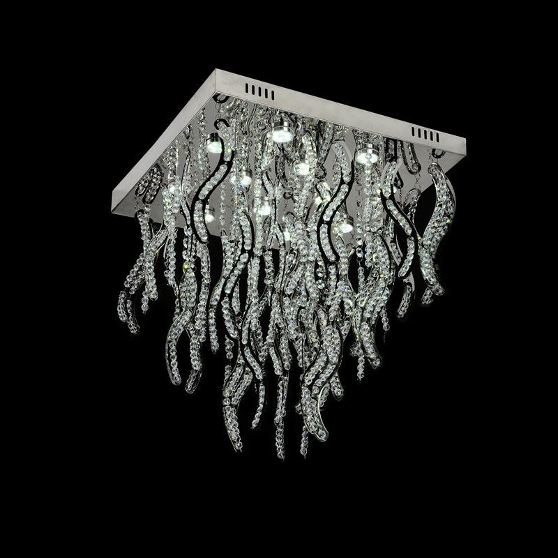 12 Lights Modern Simple Fashion LED Chrome Square Crystal Ceiling Light