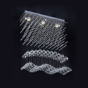 3 Lights Modern Simple Fashion Chrome Square Crystal Ceiling Light
