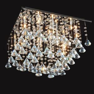 16 Lights Modern Simple Fashion Chrome Square Crystal Ceiling Light