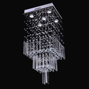5 Lights Modern Simple Fashion  Chrome Square Crystal Ceiling Light