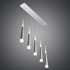 5 Lights Modern Simple Fashion LED Square Acrylic Pendant Light Silver