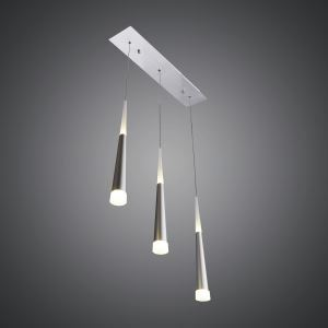 3 Lights Modern Simple Fashion LED Square Acrylic Pendant Light Silver
