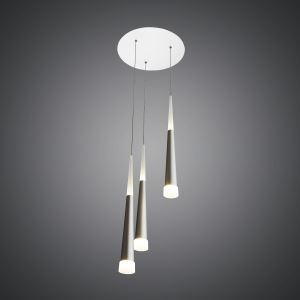 3 Lights Modern Simple Fashion LED Round Acrylic Pendant Light Silver