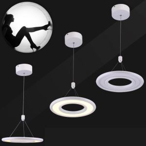 1 Light Modern Simple Fashion LED Round Acrylic Pendant Light Flat White