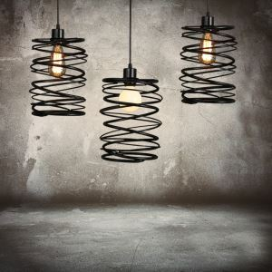 (In Stock)American Country Pendant Light Stoving Varnishing Craftsmanship Wrought Iron Pendant Light 1 Light Matted Black Chandelier