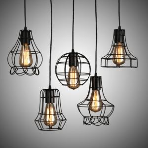 American Country Wrought Iron Stoving Varnishing Craftsmanship Pendant Light 5 Designs 1 Light Black Chandelier