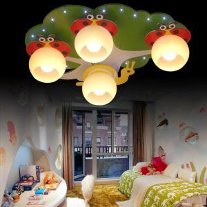 Contemporary Simple LED Colorful Spray-painted Craftsmanship Glass Flush Mounted Ceiling Light 4 Lights Energy Saving