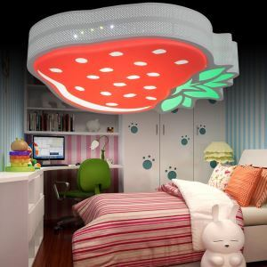 Contemporary Simple LED Strawberry Wrought Iron Spray-painted Craftsmanship Acrylic Glass Flush Mounted Ceiling Light
