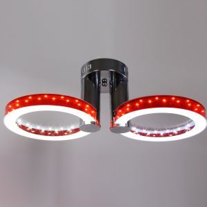 Modern Simple Fashion Stainless Steel Acrylic Flush Mount Ceiling Light Red Golden Silver 2 Lights