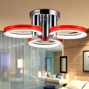 (In Stock)Modern Simple Fashion Stainless Steel Acrylic Flush Mount Ceiling Light Red Golden Silver 3 Lights