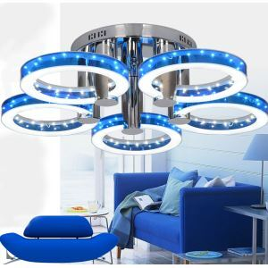 (In Stock)Modern Simple Fashion Stainless Steel Acrylic Flush Mount Ceiling Light Blue Red Golden Silver 5 Lights