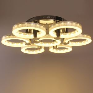 Modern Simple Fashion Stainless Steel Acrylic Flush Mount Ceiling Light Silver 7 Lights