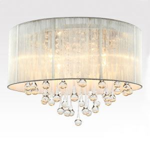 Crystal 4-Light White Drum Shade Chrome Flush Mount Chandelier Ceiling Fixture