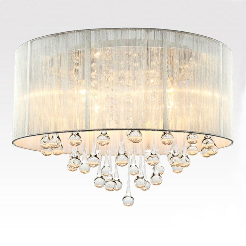 Modern Simple Fashion Round Crystal Flush Mount Ceiling Light 6 Lights
