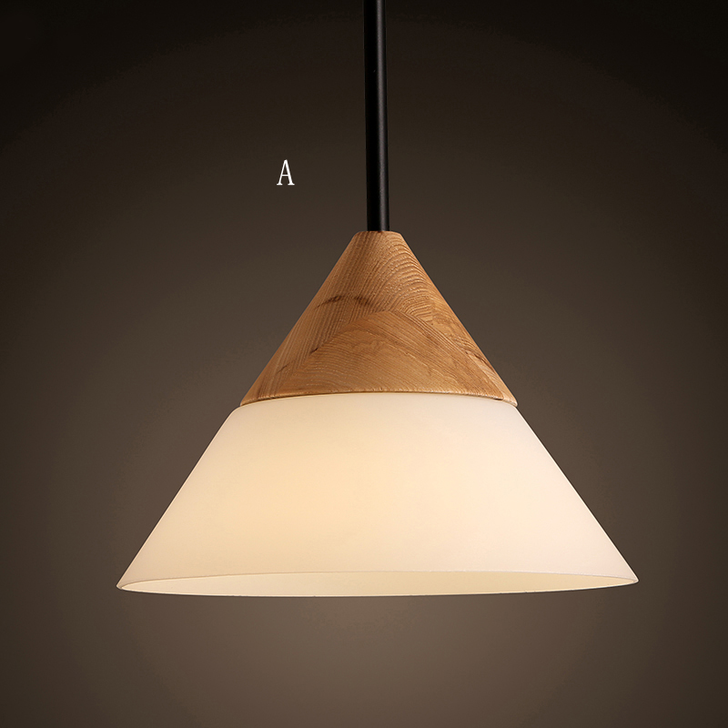 Simple Pendant Light: Glass Pendant Light Modern Simple Fashion Wooden Glass