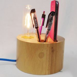 Modern Simple Fashion Burlywood Wooden Glass Table Lamp 1 Light