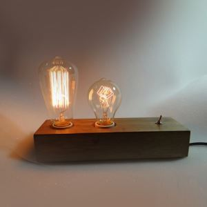 Modern Simple Fashion Burlywood Wooden Glass Table Lamp 2 Lights
