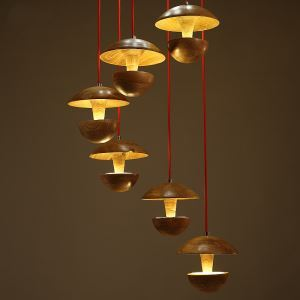 American Country Style Burlywood Wooden Pendant Light 6 Lights