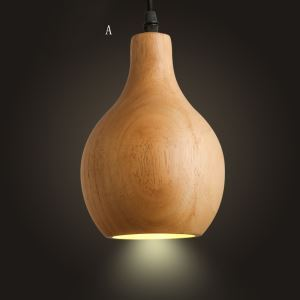 American Country Style Burlywood Wooden Pendant Light 4 Designs 1 Light