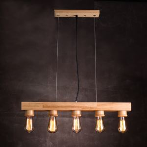 American Country Style Burlywood Wooden Pendant Light 5 Lights