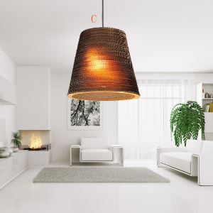 American Country Style Corrugated Paper Indoor Pendant Light 5 Designs