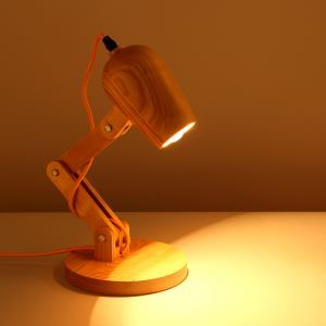 American Country Style Burlywood Wooden Table Lamp 1 Light