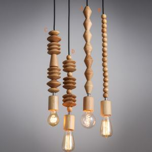 American Country Style Wooden Pendant Light 4 Designs 1 Light