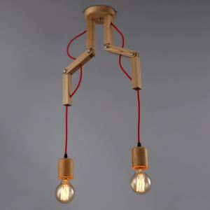 American Country Style Burlywood Wooden Pendant Light 2-Light