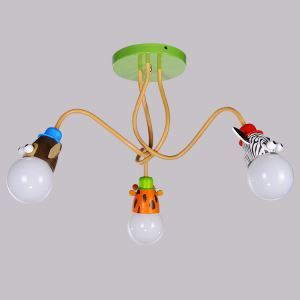 Animal Ceiling Light Cartoon Little Animals Kids Room Lighting Idea 3 Lights