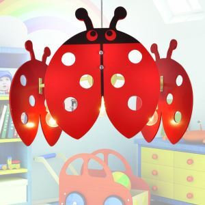 Modern Fashion Cartoon LED Red Ladybird Pendant Light 3 Lights Energy Saving