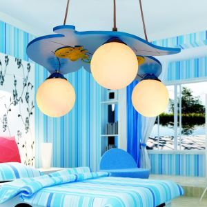 Modern Fashion Cartoon LED Creative Leaf Wooden Pendant Light 3 Lights Energy Saving