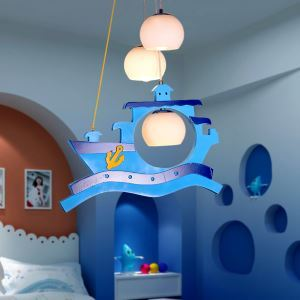 Modern Fashion Cartoon LED Cretive Pirate Ship Wooden Pendant Light 3 Lights Energy Saving