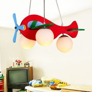 Modern Fashion Cartoon LED Creative Airplane Wooden Pendant Light 3 Lights