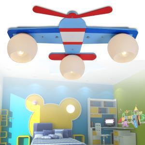 Modern Fashion Cartoon LED Creative Airplane Wooden Pendant Light 3 Lights Energy Saving
