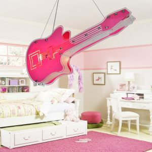Modern Fashion Cartoon LED Creative Pink Violin Pendant Light 2 Lights Energy Saving