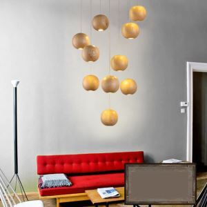 American Country Style Burlywood Wooden Pendant Light