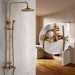 Brass Shower Faucet Antique Bathroom Shower Head + Hand Shower Faucet Set