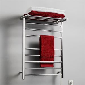 93W Modern Simple Style Towel Warmer Silver Wall Mounted Stainless Steel Towel Warmer with Non-electric Heating Shelf