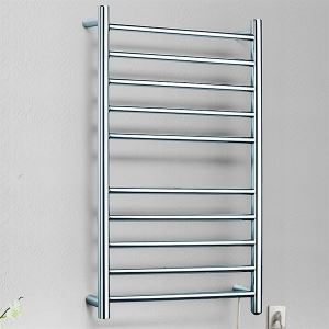 125W Modern Simple Style Towel Warmer Silver Wall Mounted Stainless Steel Towel Warmer