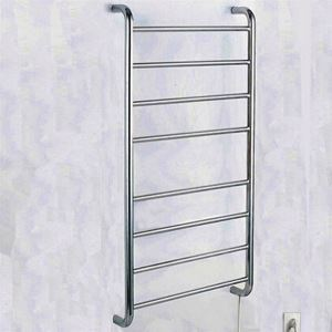 80W Modern Simple Style Towel Warmer Silver Wall Mounted Stainless Steel Towel Warmer