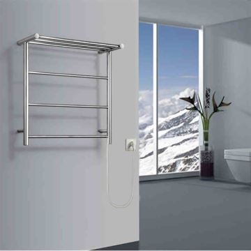 Bathroom   Towel Warmer   40W Modern Simple Style Towel Warmer Silver Wall  Mounted Stainless Steel Towel Warmer With Non Electric Heating Shelf