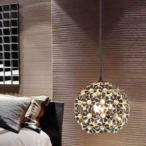 Modern Minimalist 1 Light Pendant with Crystal Shade in Globular