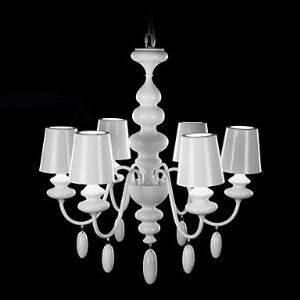 Metal Shade Chandelier 6 Light Modern White Iron Painting