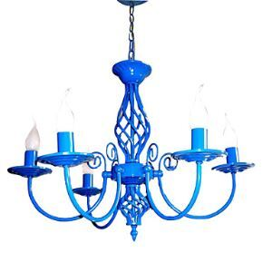E14x5 Sky Blue Color Chandelier Modern Pendant light for Bedroom Living Room