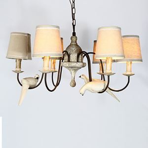 6 Heads American Country Retro Bedroom Northern Rural Mediterranean Iron Art French Restaurant Birds Chandelier Lamps