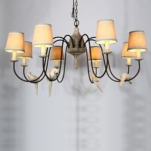 8 Heads American Country Retro Bedroom Northern Rural Mediterranean Iron Art French Restaurant Birds Chandeliers Lamps